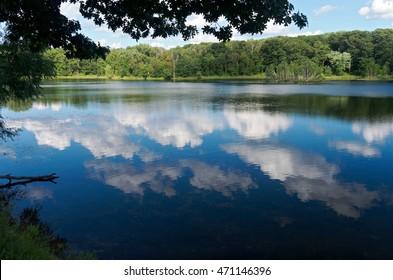 scenic of holland lake in lebanon hills regional park eagan minnesota