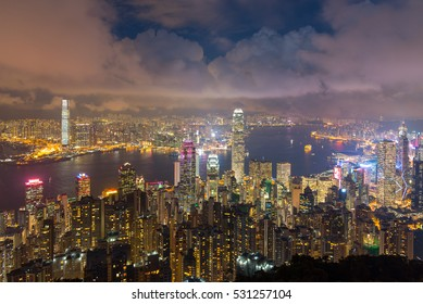 Scenic Hong Kong skyline at night