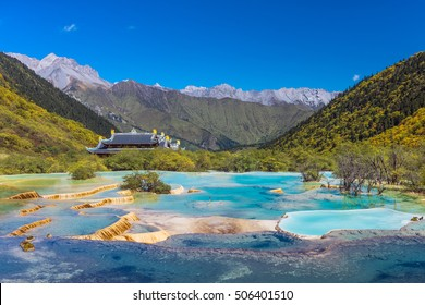 Scenic Huanglong area in Sichuan province, China. Known for its colorful pools formed by calcite deposits, it is a very popular tourist destination. Pictured here is the Multi-Colored Pond.
