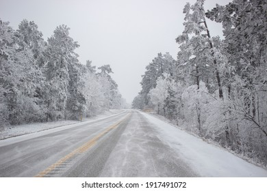 Scenic Hwy. 7 in the Arkansas Ozark Mountains after being hit by the Polar Vortex.