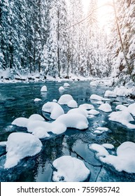 Scenic image of stormy flow. Frozen stones in frosty day. Location Carpathian, Ukraine, Europe. Great picture of wild area. Explore the beauty of earth. Incredible holiday wallpapers. Happy New Year!