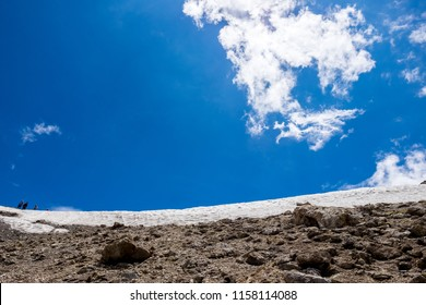 Scenic India glacier of Himalayas mountains valley landscape. Beautiful view of Glacier in the Himalayas mountains. Snowy high mountain peaks with clouds on blue sky.