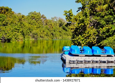 Scenic Intercourse waterway and canoe deck in huge tylor birch state park Fort Lauderdale Florida usa