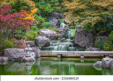 Scenic Japanese style Kyoto gardens with a waterfall in Holland park London, in autumn