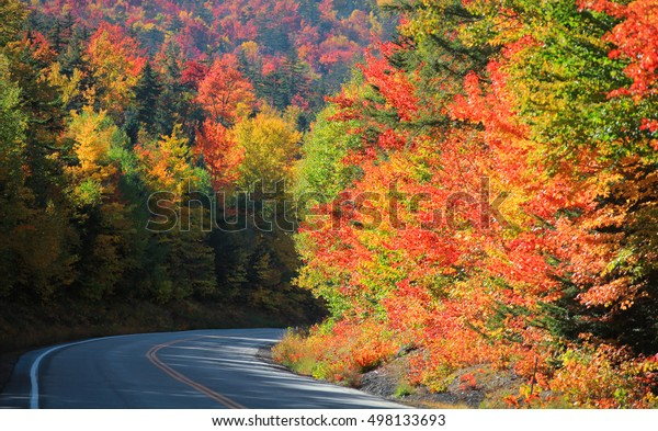 Scenic Kancamagus high way passes through White mountain national forest