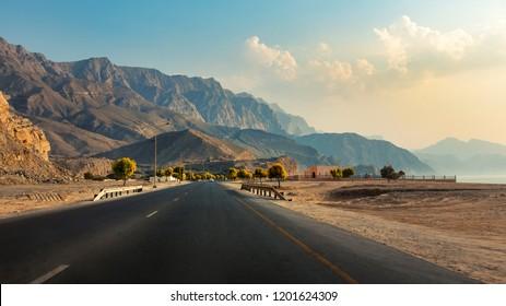 Scenic Khasab Coastal road in Musandam Governorate of Oman
