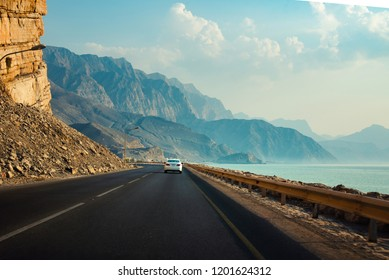 Scenic Khasab Coastal road in Musandam Governorate of Oman