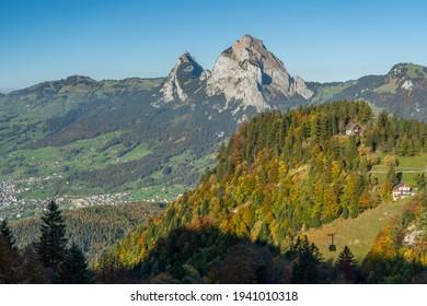 Scenic Kleiner Mythe and Grosser Mythe seen from the Fronalpstock mountain, Swirzerland