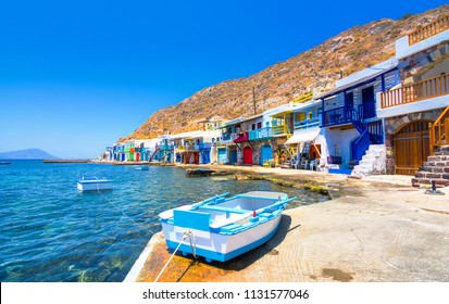 Scenic Klima village (traditional Greek village by the sea, the Cycladic-style) with sirmata - traditional fishermen's houses, Milos island, Cyclades, Greece.