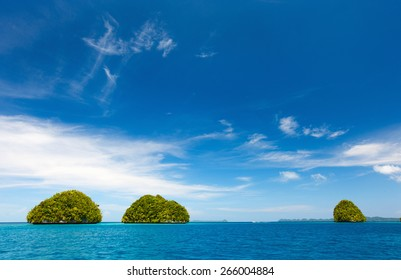 Scenic lagoon of Palau is characterized by hundreds of limestone islands