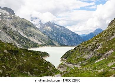 Scenic lake at Grimselpass in Kanton Bern, Switzerland