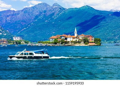 """Scenic lake Lago Maggiore - pictorial Borromean islands. """"Isola dei pescatori"""". Italy"""