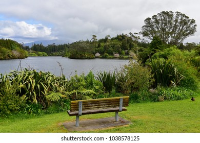 Scenic Lake Mangamahoe and its lush bank in north island, New Zealand