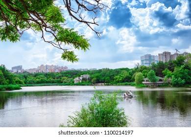 Scenic lake in the park in Chisinau, Moldova