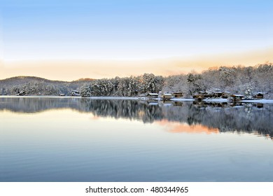 Scenic lake at sunrise on a beautiful winter day.