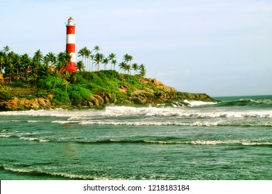 The scenic landmark location depicting the lighthouse at the popular beach of Kovalam located in the Indian city of Trivandrum,kerala