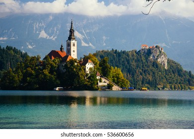 Scenic landscape around Bled lake and Bled castel