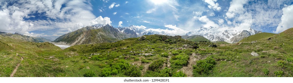 Scenic landscape around Nanga Parbat mountain in Himalayas in Pakistan on sunny summer day.