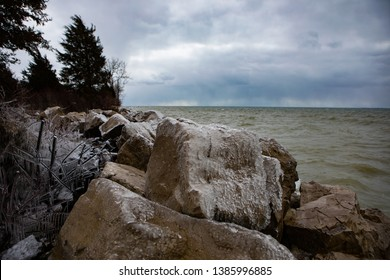 Scenic Landscape Background Rocky Shore Foreboding Weather Icy Boulders