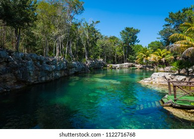 Scenic landscape of Cenote, a natural lagoon with transparent turquoise water surrounded by rocks and tropical vegetation of Mexican jungle.