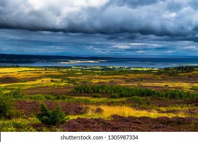 Scenic Landscape At Dornoch Firth With Dornoch Firth Bridge In Scotland