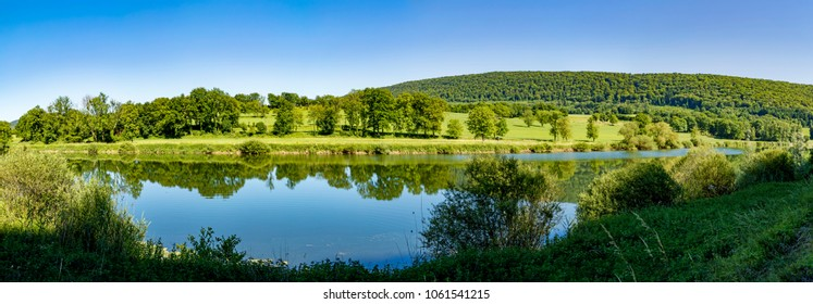 scenic landscape in the french Jura region at river Doubs