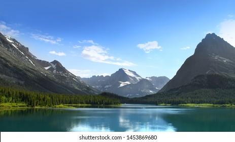 Scenic landscape of Glacier national park in Montana