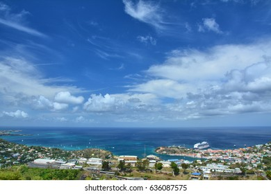Scenic landscape of Grenada, St George town. Blue sky
