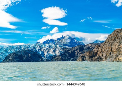 Scenic landscape of Grey Glacier and Grey Lake in sunny day at Torres del Paine National Park inSouther Patagonia in Chile