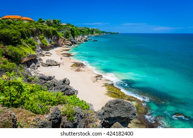 Scenic landscape of high cliff on Tropical beach / Bali, Indonesia