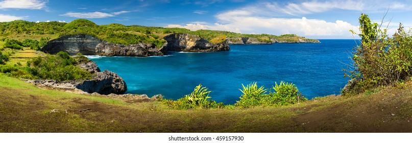 Scenic landscape of high cliff at tropical island Bali, Indonesia