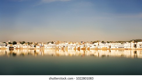 Scenic landscape of holy city Pushkar in Rajastan, India. Sacred lake Pushkar. Skyline city