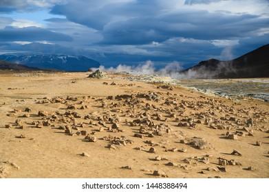 Scenic landscape at Hverir Boiling mud area