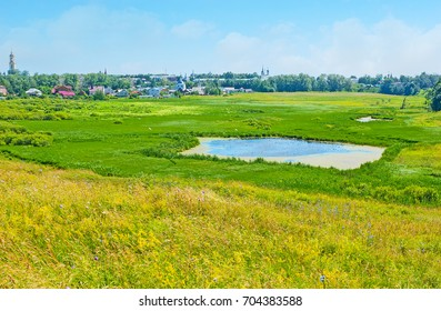The scenic landscape of Ilinskiy meadow is covered with juicy green grass, wildflowers and tiny swamps, Suzdal, Russia.