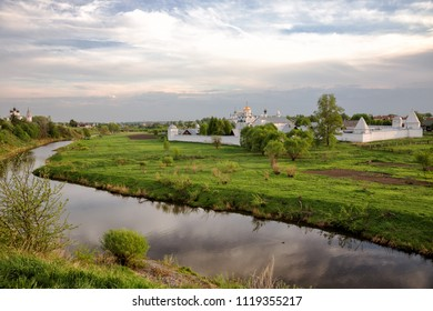 Scenic landscape with Intercession Pokrovsky Monastery on sunny spring evening, Suzdal, Russia
