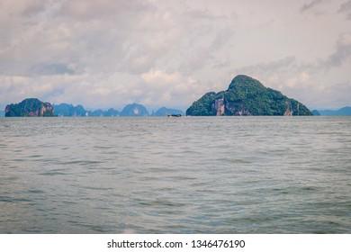 Scenic landscape of Krabi beach with islands, Thailand