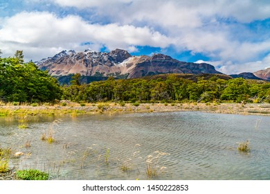 Scenic landscape of Los Glaciares National Park with beautiful mountain and river in El Chalten, Argentina