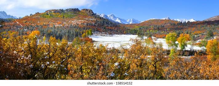 Scenic landscape of Mount Sneffles from back road Colorado 7.