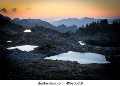 Scenic Landscape Of Mountain Lake, Olympic Mountains, Washington