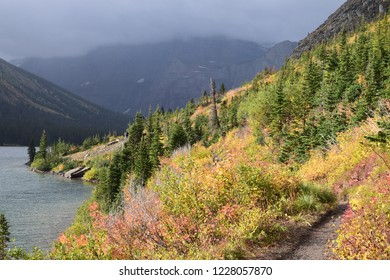 Scenic landscape on hike backpack trail to Grinnell glacier by Lake Josephine in many glacier area at glacier national park, montana, usa