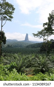 Scenic landscape picture of Pico de Sao Tome, the highest mountain on the tropical, african island of São Tomé and Príncipe