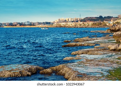 Scenic landscape of sea coast, Tripoli, Lebanon