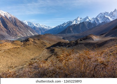 scenic Landscape of snow capped mountain range. A view from the glacier, Babusar Pass, Khyber Pakhtunkhwa, Gilgit Baltistan, Northern Pakistan.