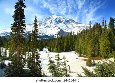 Scenic landscape of snow covered Mount Rainier
