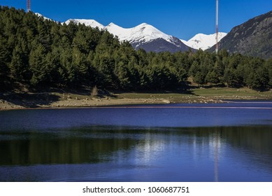 Scenic landscape with snow mountains in Andorra