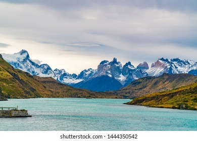 Scenic landscape of Torres del Paine National Park in Chile with the beautiful Cuernos del Paine mountains