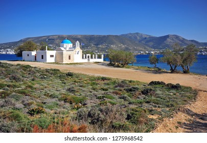 Scenic landscape with traditional greek church, Paros