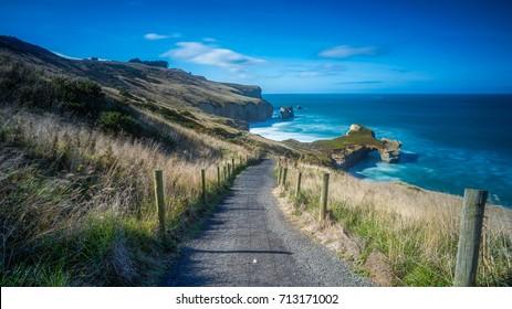Scenic Landscape of Tunnel beach, Dunedin, South island of New Zealand