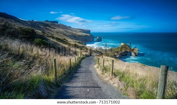 Живописный пейзаж Тоннельный пляж, Данедин, Южный остров Новой Зеландии