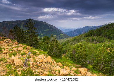 Scenic landscape view in Albanian mountain, Lure National Park.